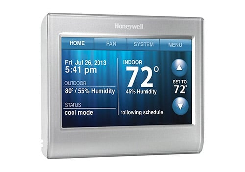 Honeywell RTH9580WF smart thermostat front view with main screen powered on