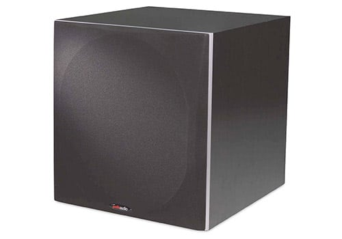 Polk Audio PSW505 home subwoofer front image with grille